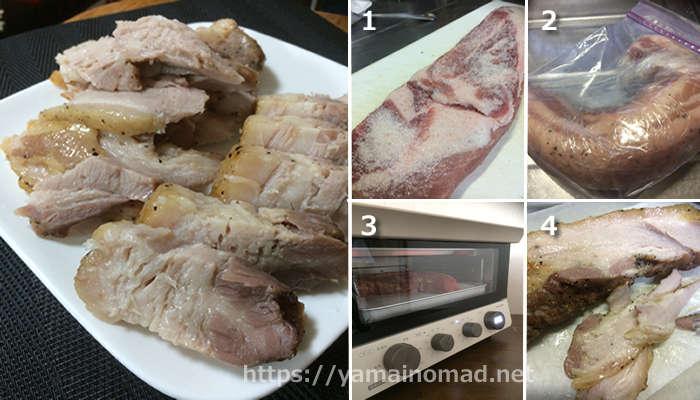 簡単男飯!低フォドマップ対応オーブンでほったらかしベーコン作り!